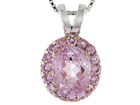 c39dc6911 2.64ct Oval Brazilian Kunzite And.64ctw Round Pink Sapphire Sterling ...