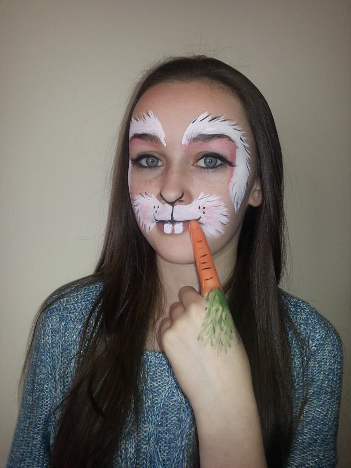 Bunny rabbit face paint with carrot finger facepaint