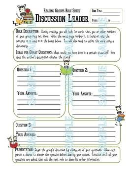 Collection of Literature Circles Roles Worksheets - Joursferiesfr