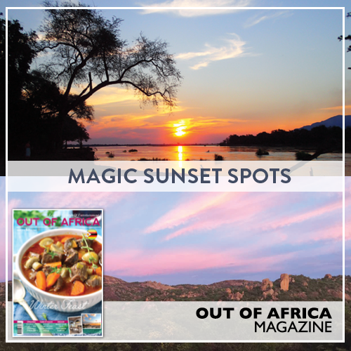 Top 5 Magic Sunset Spots There is something so rewarding about watching a sunset as the final rays of sun illuminate the sky on its way out until the sun slowly dips below the horizon and night descends. Sunsets can be watched and enjoyed by the old and young alike. Buy June 2016 OUT OF AFRICA Magazine - OUT NOW!