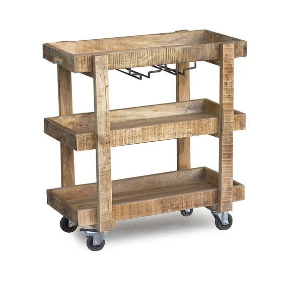 Reclaimed Wood Bar Cart With Wheels By Timbergirlcom On