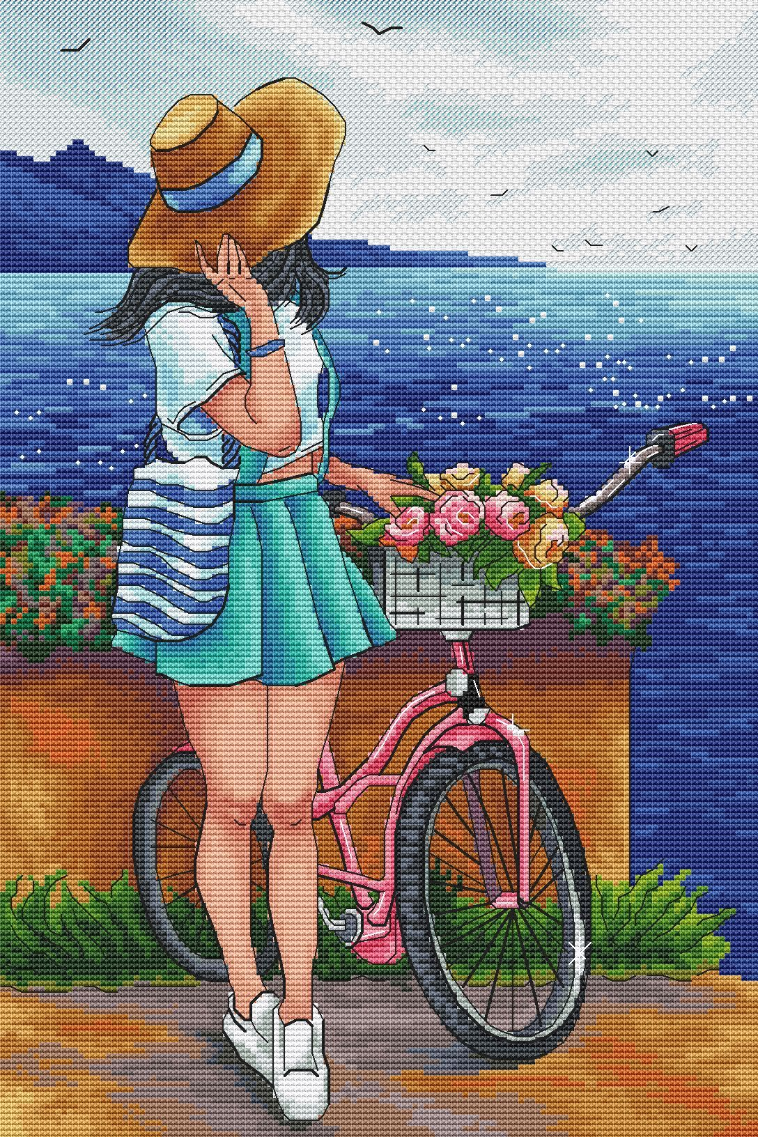 Cross stitch pattern the girl and the bike sea landscape