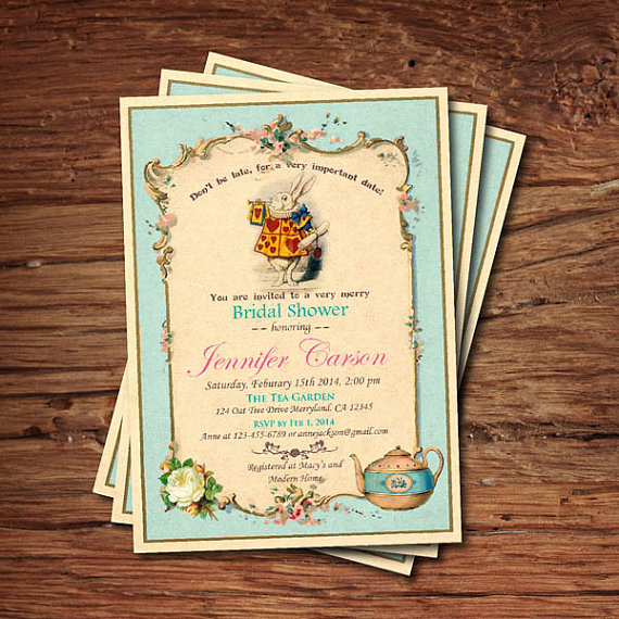 Bridal shower invitation mad hatter tea party invitation turquoise bridal shower invitation mad hatter tea party invitation turquoise alice in wonderland tea party filmwisefo Choice Image