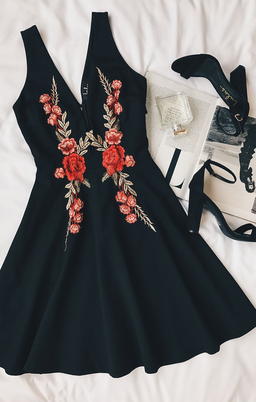 Romantic rose black embroidered skater dress clothes dream