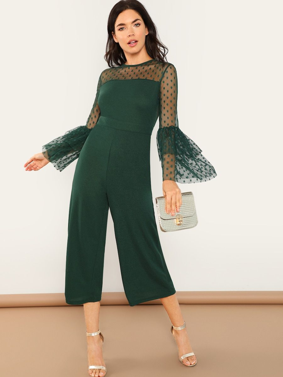 bad96e8a5254 Dot Mesh Shoulder Layered Bell Sleeve Jumpsuit -SheIn(Sheinside)