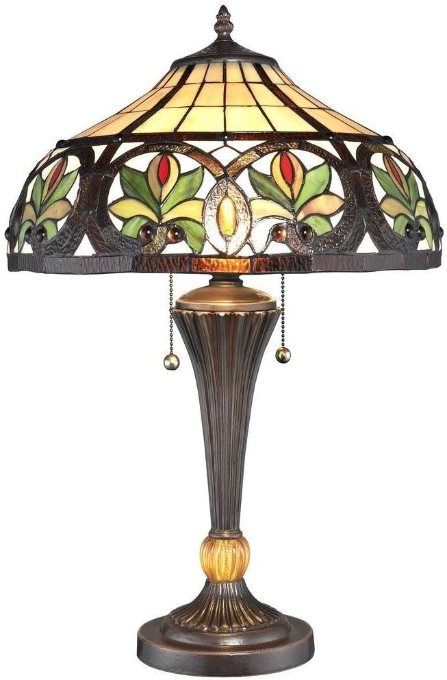 Pull Chain Table Lamp Tiffany Table Lamp Desk Light Stained Glass Shade Bronze Metal Base