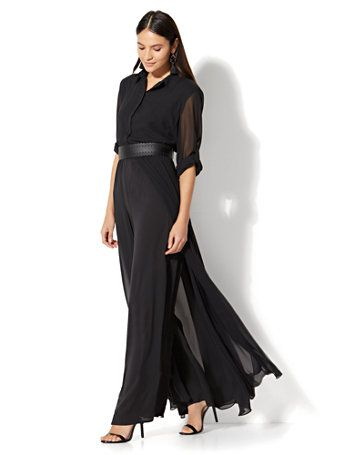 754bde97858a Shop Long-Sleeve Jumpsuit - Black. Find your perfect size online at the  best price at New York   Company.