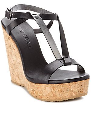 """Jimmy Choo """"Native"""" Leather & Cork Wedge Sandal"""