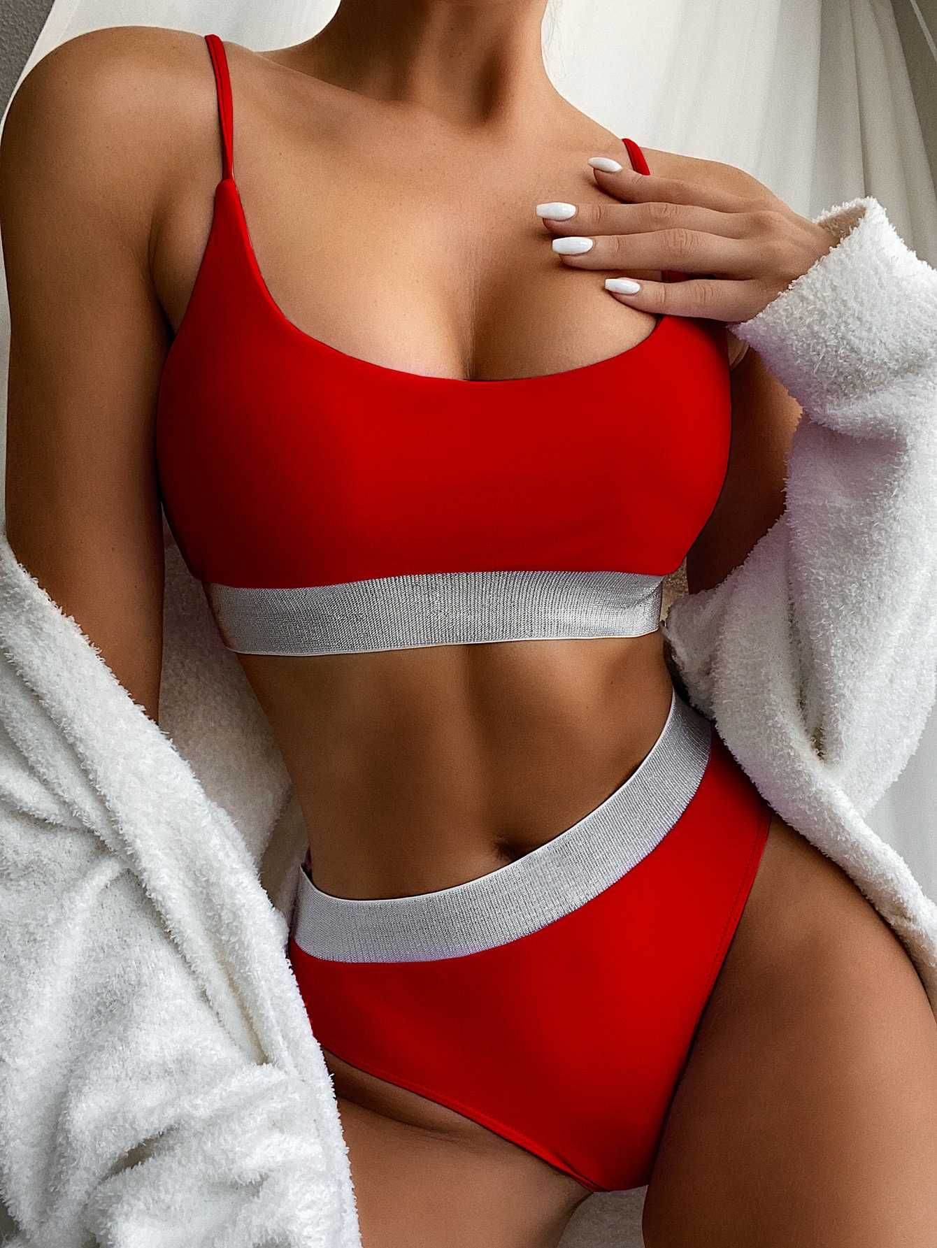 red silver block high waisted swimsuit silver and red women's swimsuits high wai… – Swimsuit