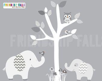 Babyzimmer ideen wandgestaltung dschungel  Baum Mini Dschungel Abziehbilder, kleine Elefant Wall Decal ...