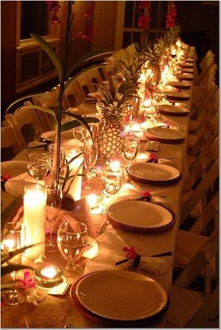 Pineapple Amp Candle Centerpieces Carib Tapas Dinner Party