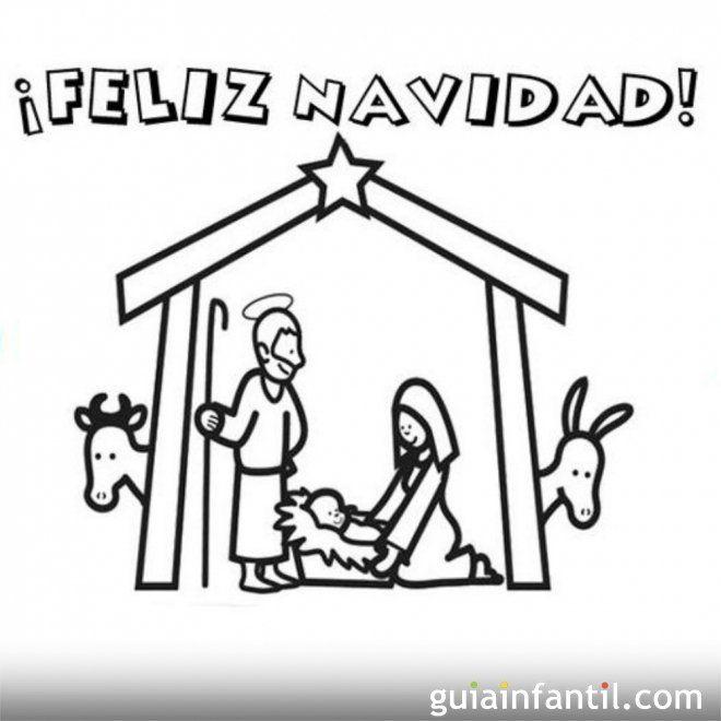Postal navideña con Portal de Belén para colorear | Catequesis ...