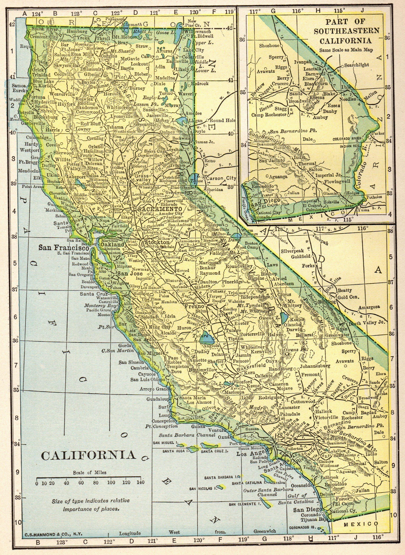 1911 Antique CALIFORNIA Map NEVADA Map Print Gallery Wall Art Home ...