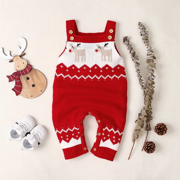 Photo of Baby Boy / Girl Christmas Newborn Knitted Reindeer Embroidery Overall Sweater Jumpsuit