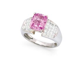 Pink Sapphire, Diamond and 14K White Gold Ring