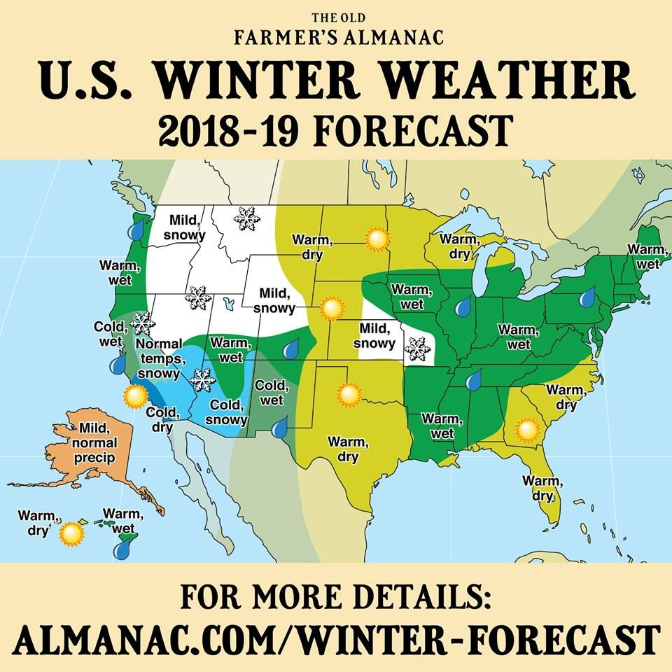 20182019 Winter Weather Forecast Almanac Weather Watchers - Us-map-weather-forecast