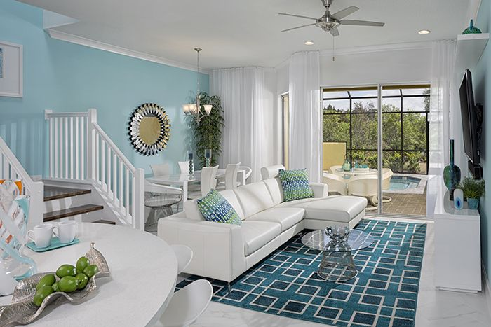 $301,800 5beds/4.5baths. Great lifestyle community with its own downtown amenities center, this great corner unit has a plunge pool, cabana bath, ceramic tile throughout with carpet in bedrooms, beautiful espresso wood cabinets, granite countertops, stainless steel appliances, upgraded lighting and much more.  You can use it as your vacation retreat and also as an income producing, short term, rental.