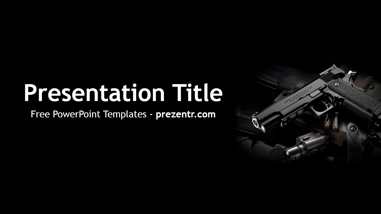 The free weapon powerpoint template has a black background with an the free weapon powerpoint template has a black background with an image of weapon for presentations about war army weapons and toneelgroepblik Image collections