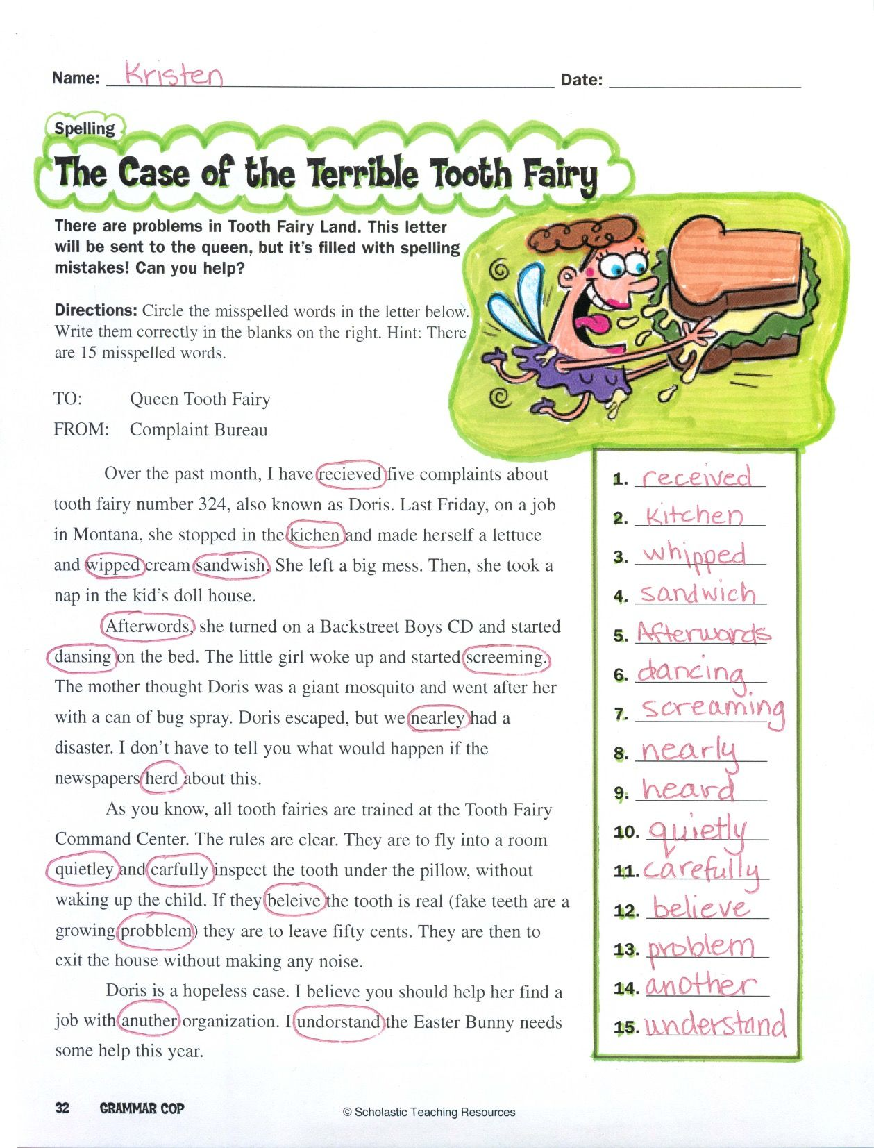 Complaint Words Help Your Kids Brush Up On Their Spelling With This Letter Filing A .