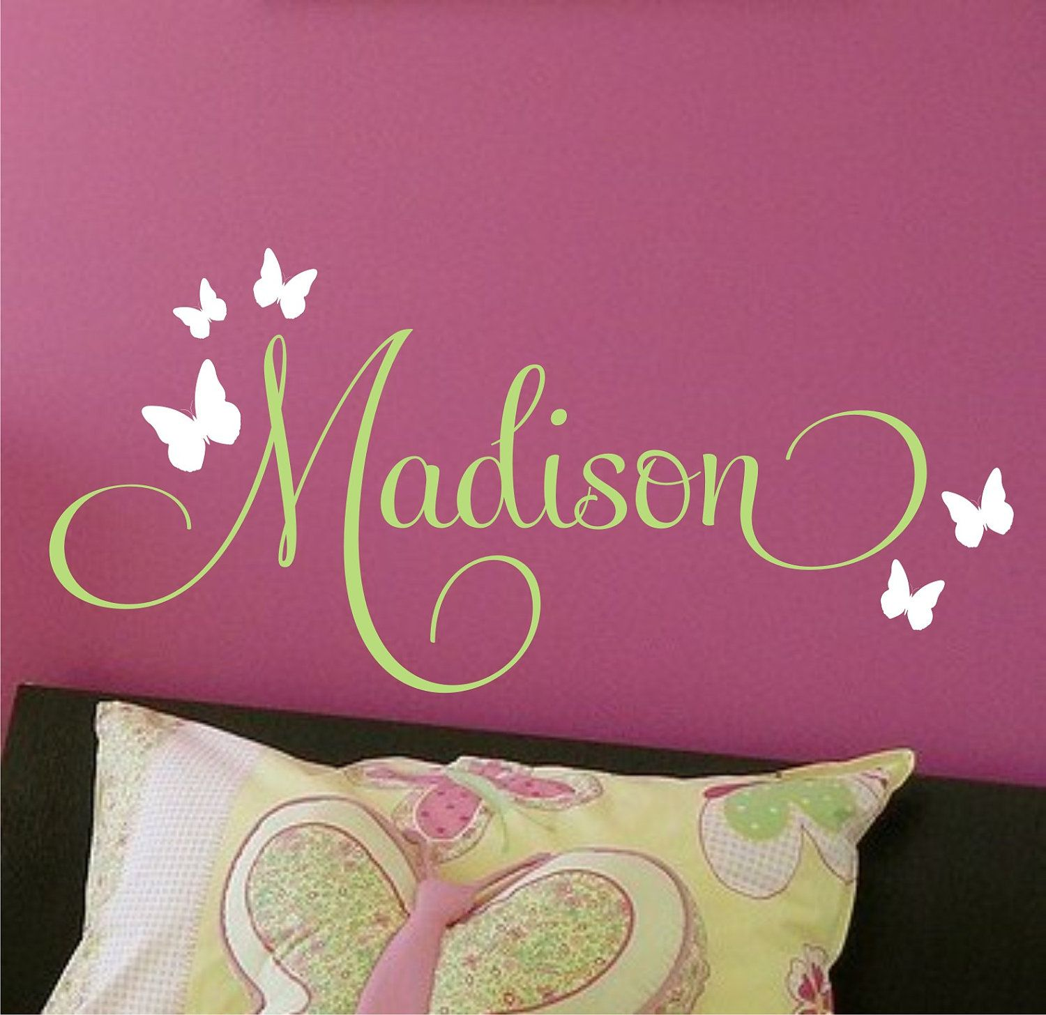 Children Decor Butterflies Nursery Monogram Vinyl Decal Vinyl - Monogram wall decal for kids