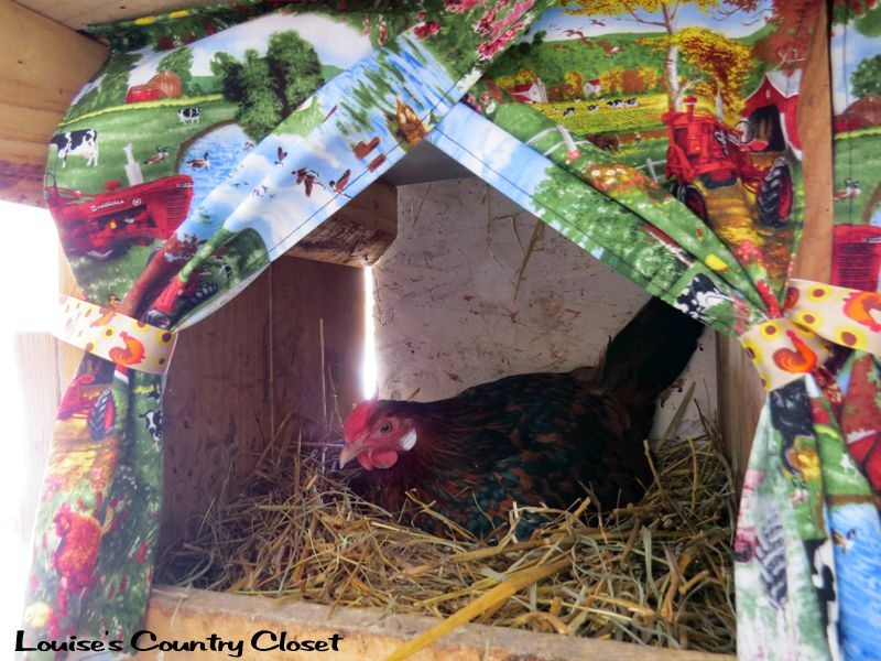 Louises Country Closet Nest Box Curtains Chickens