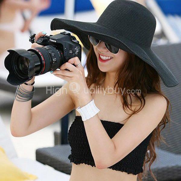 72ecdd0e763 Women s Wide Large Brim Folding Sun Floppy Hat Straw Beach Cap Black -  6.24