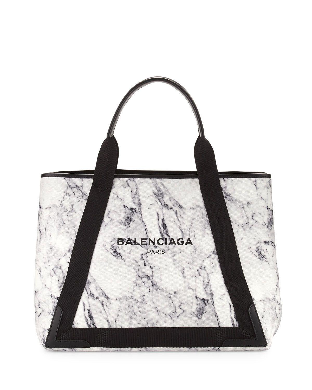 853b7a5c907 Cabas Medium Marble-Print Tote Bag, White/Navy, Size: M - Balenciaga
