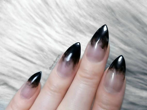 10 20 Press On Nails Black Smoke French Nails Clear Stiletto Shape False Nails Dark Gothic From Usa Black Nails Stiletto Nails Gothic Nails