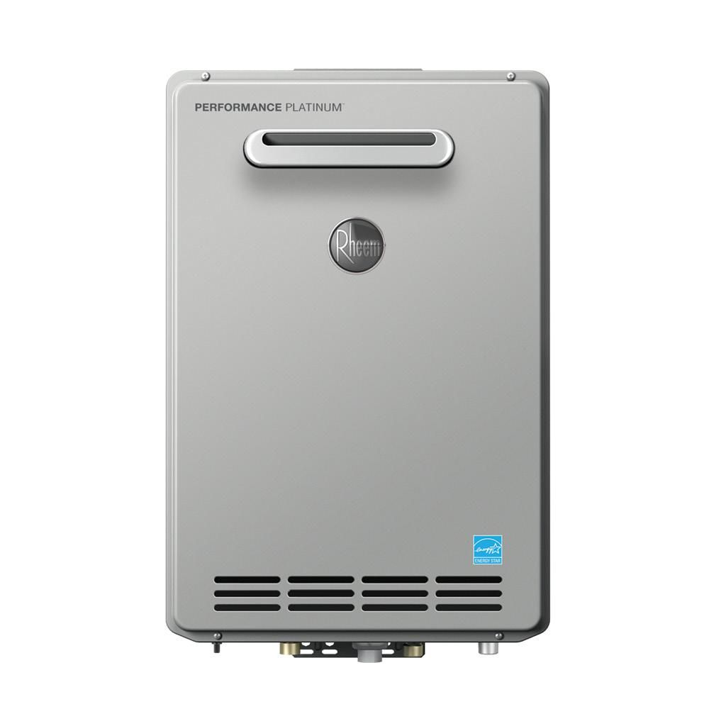 Rheem Performance Platinum 8 4 Gpm Natural Gas High Efficiency Outdoor Tankless Water Heater Ecoh160xln 1 Water Heating Tankless Hot Water Heater Water Solutions