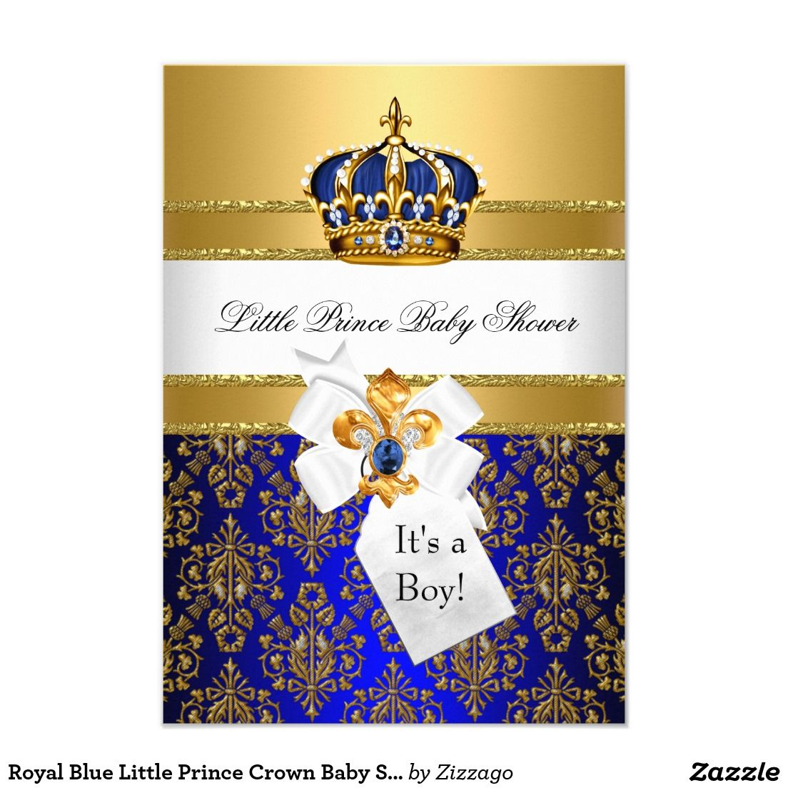 royal blue little prince crown baby shower invite | prince crown, Baby shower invitations