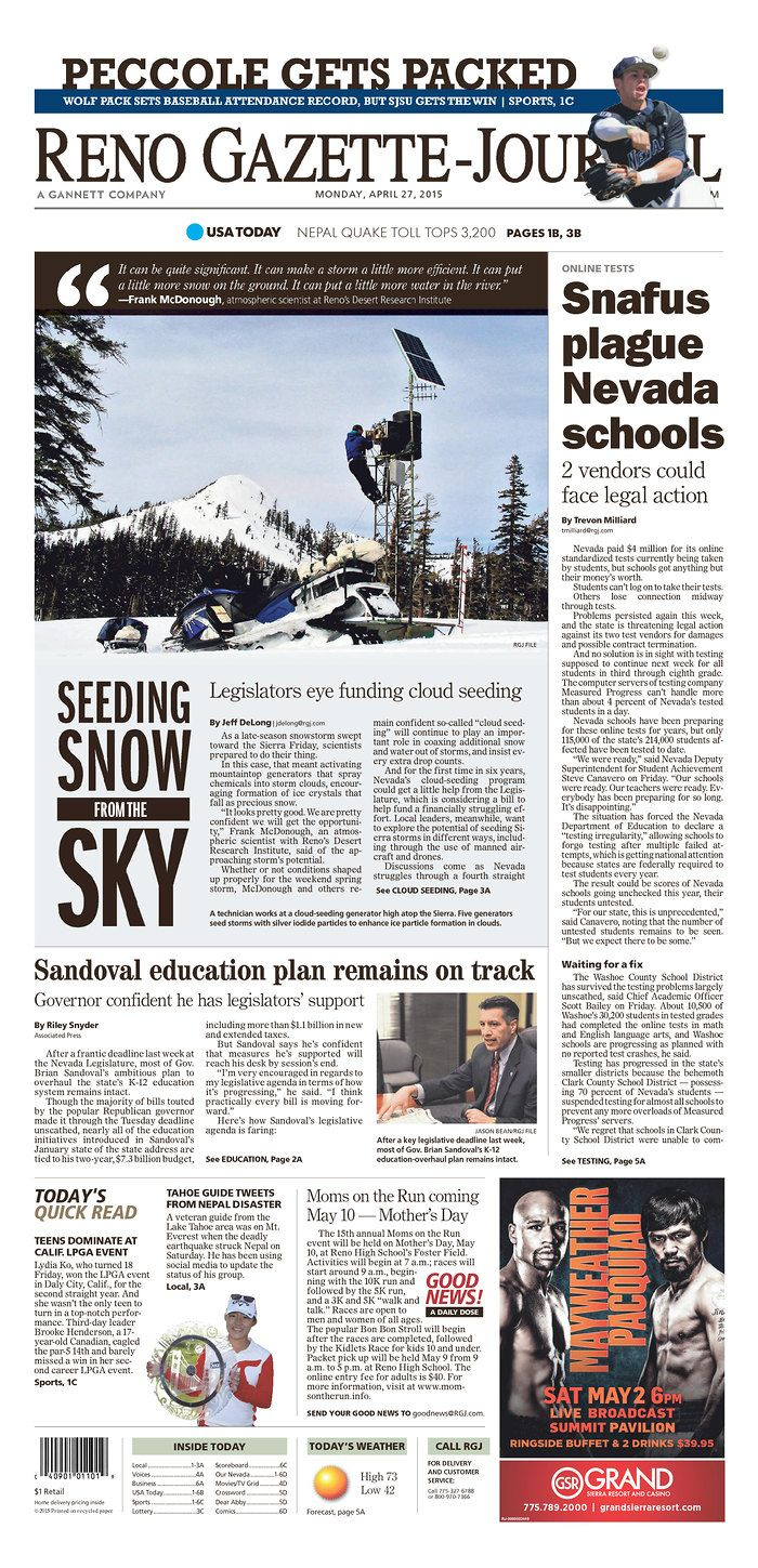 A Strong Use Of A Side Saddle Headline Reno Gazette Journal For April 27 2015 Via Today S Front Newspaper
