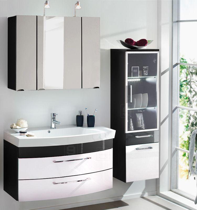 Badmöbel Set VERONA in Hochglanz anthrazit - weiß Jetzt bestellen - badezimmermöbel weiß hochglanz