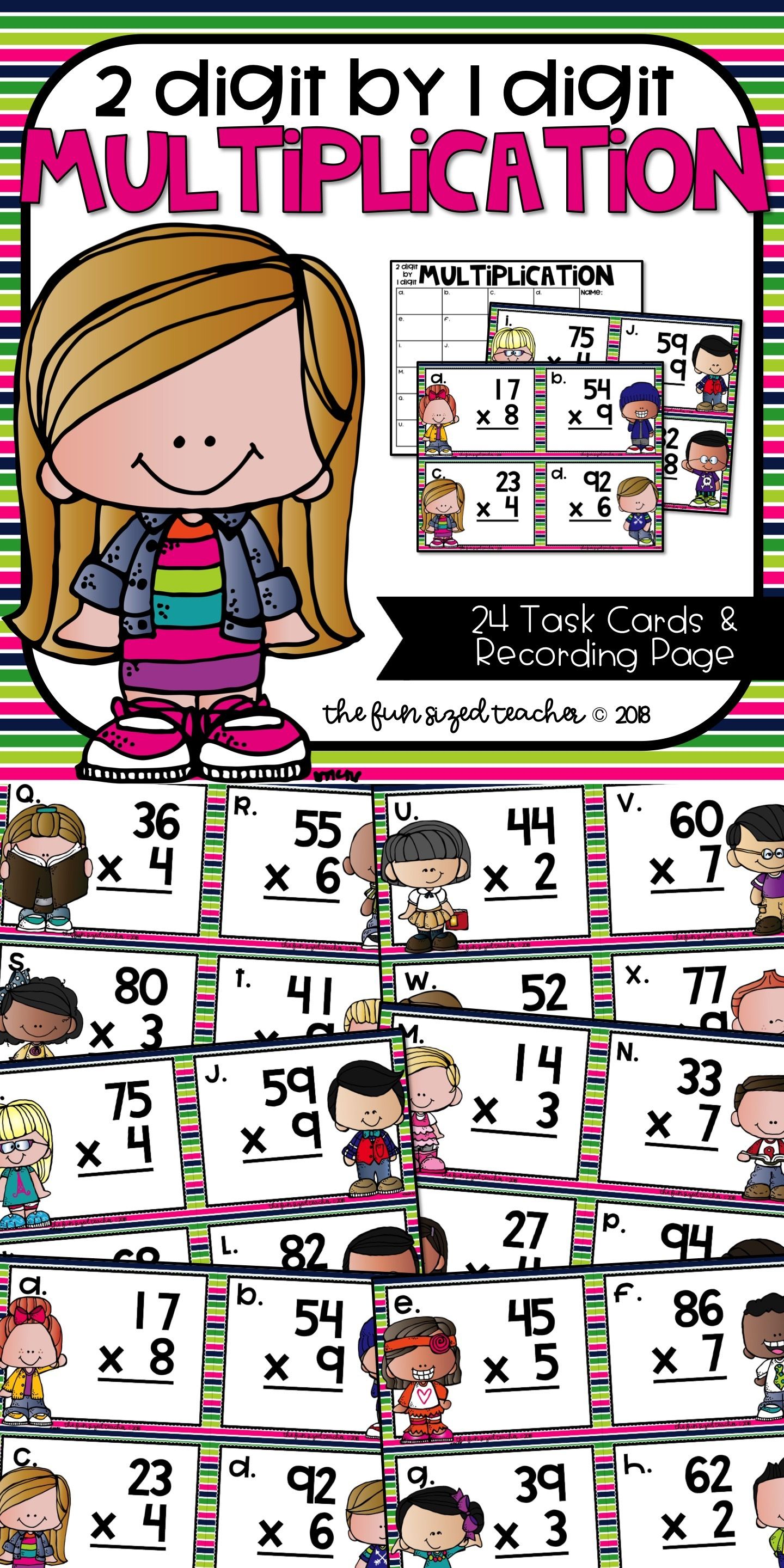 2 Digit By 1 Digit Multiplication Task Cards