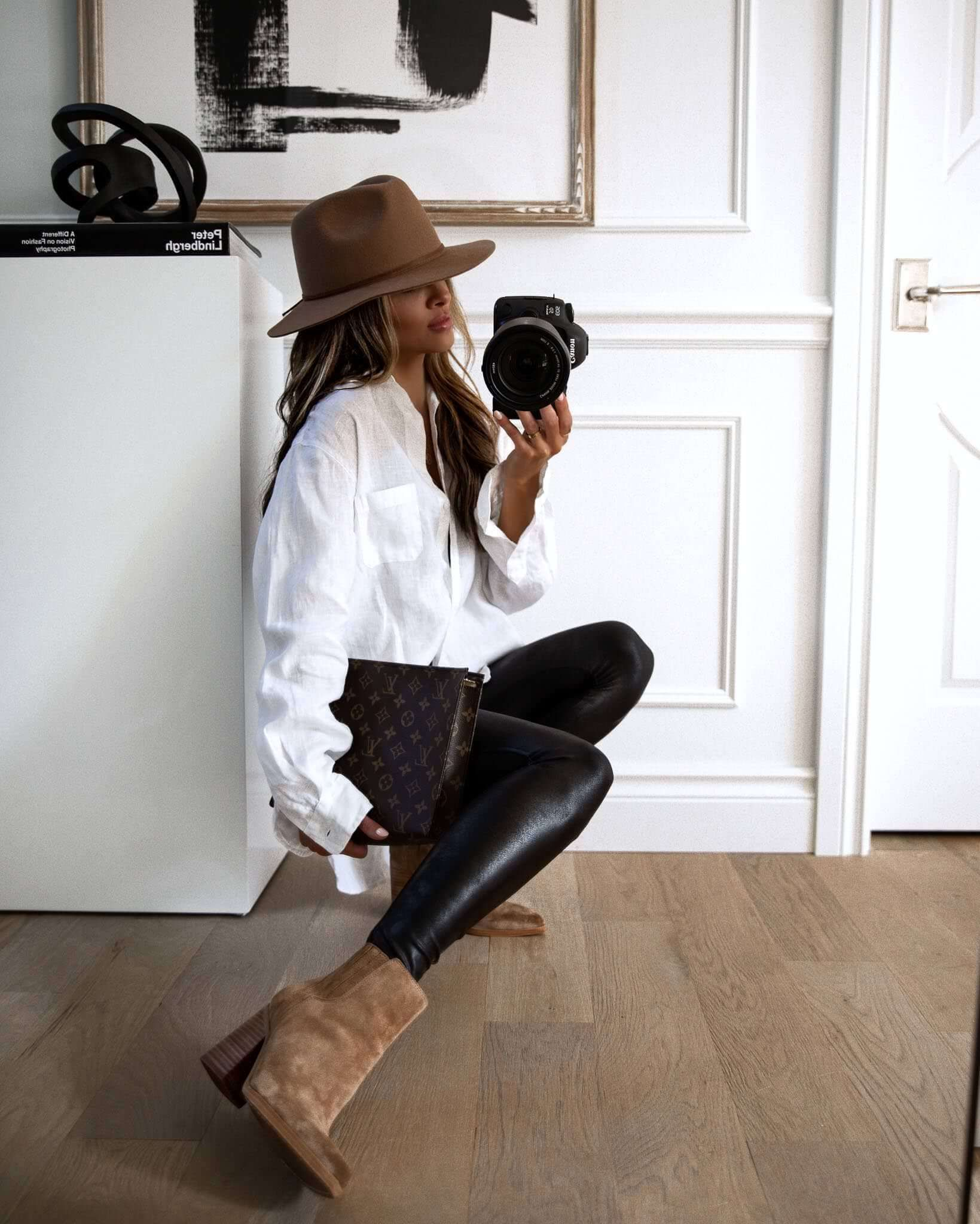 Leggings With Booties And A Fedora - Mia Mia Mine