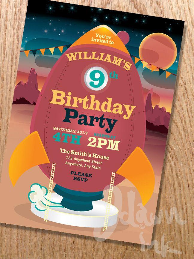Children\'s retro rocket birthday party invitation design template ...
