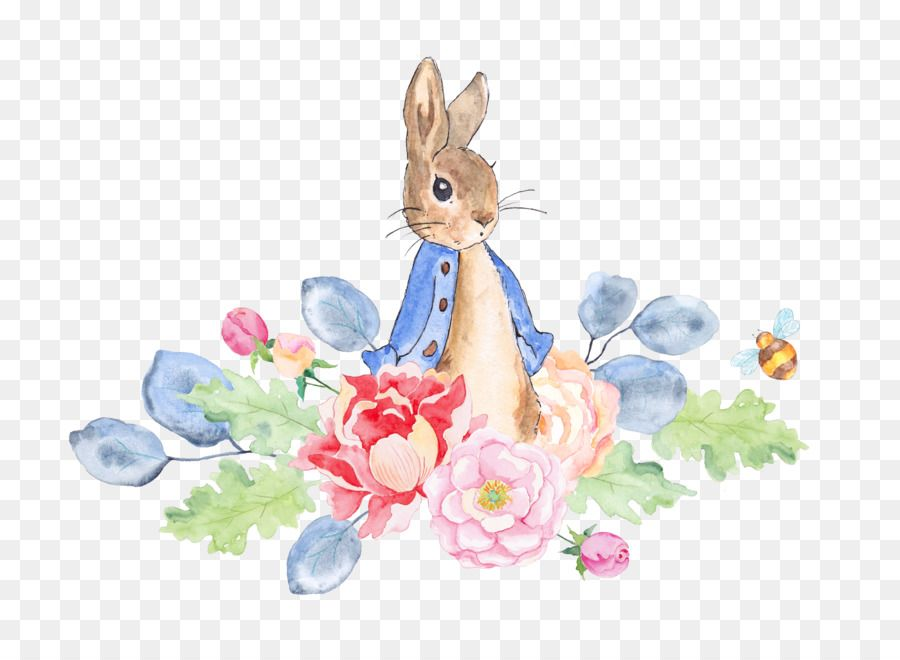 The Tale Of Peter Rabbit Watercolor Painting Clip Art Rabbit And Flowers Peter Rabbit Illustration Peter Rabbit And Friends Rabbit Illustration