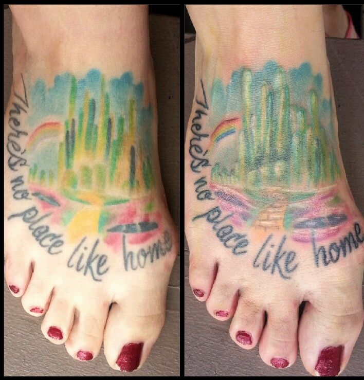 Before and after touched up Wizard of OZ tattoo done by artist ...
