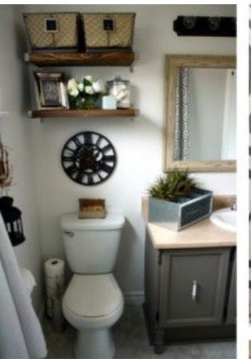 Put Floating Shelves Over Toilet For Baskets At Top And