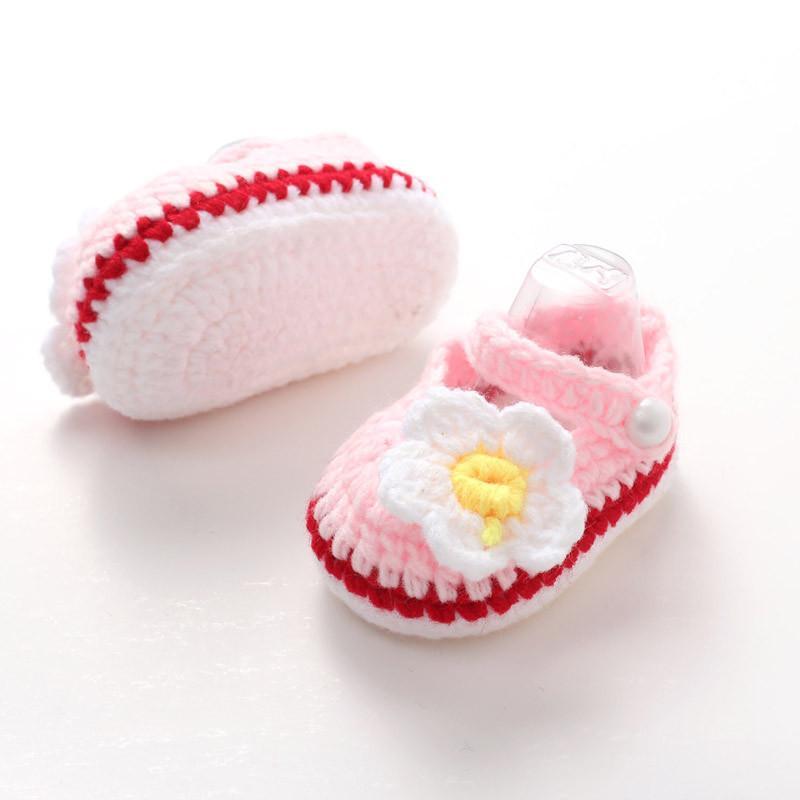 Flower Crochet Newborn Handmade Prewalker Baby Casual Crib Shoes Knit Socks