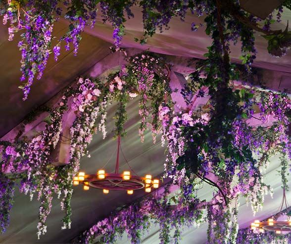 An Enchanted Awe-Inspiring Ceremony Scene -- flowers u0026 lights on ceiling : flower tent - memphite.com
