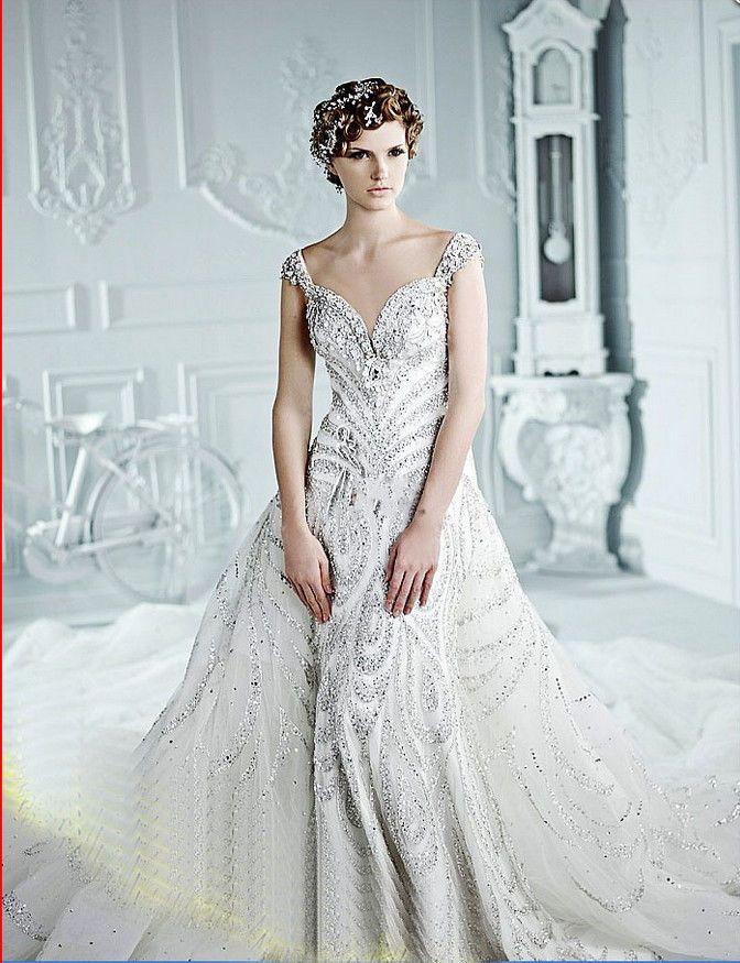 YZ Limited A Line Super Luxury Crystal Article Orangza Wedding Dress ...