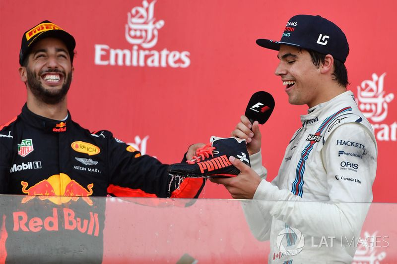 Daniel Ricciardo Red Bull Racing And Lance Stroll Williams Shoey On The Podium In 2020 Red Bull Racing Daniel Ricciardo Daniel