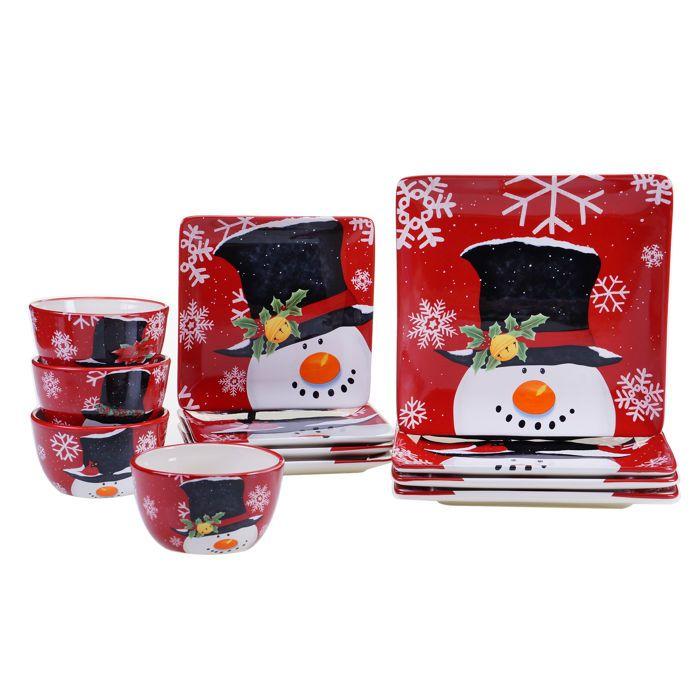 Certified International Top Hat Snowman 12-piece Dinnerware Set ...