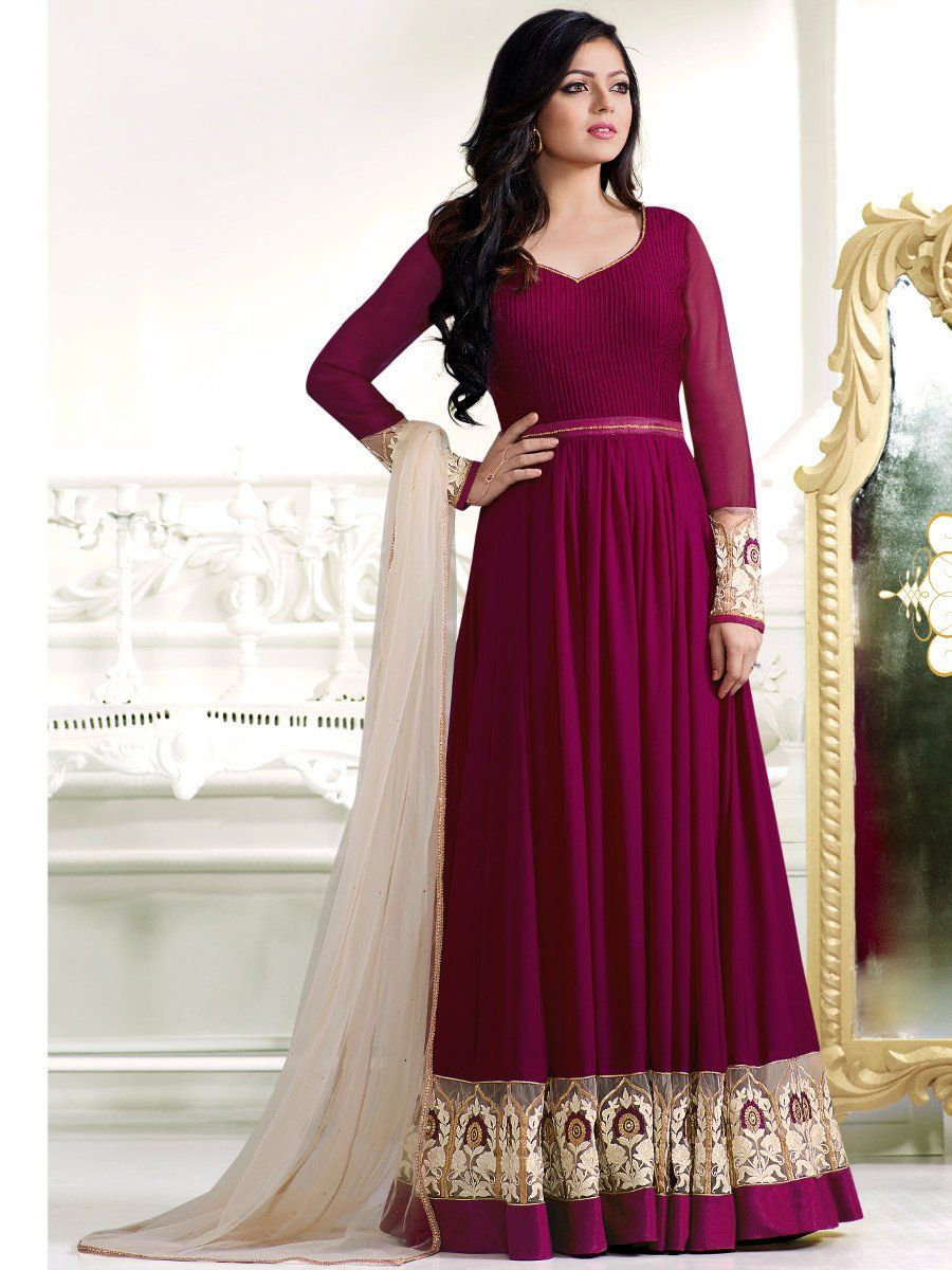 1a8809d05e Shop Drashti Dhami magenta color georgette anarkali kameez online at  kollybollyethnics from India with free worldwide shipping.