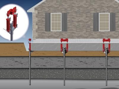 Fixing a sinking foundation using a pier system  You jack up