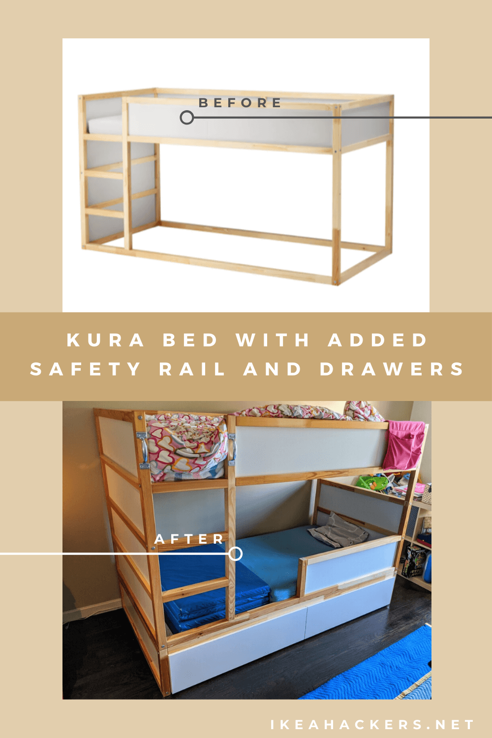 Amped Up Kura Bed With Drawers And Safety Rail Ikea Hackers Toddler Bedroom