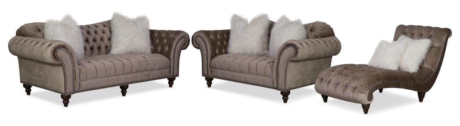 Best Brittney Sofa Loveseat And Chaise Set Champagne 400 x 300