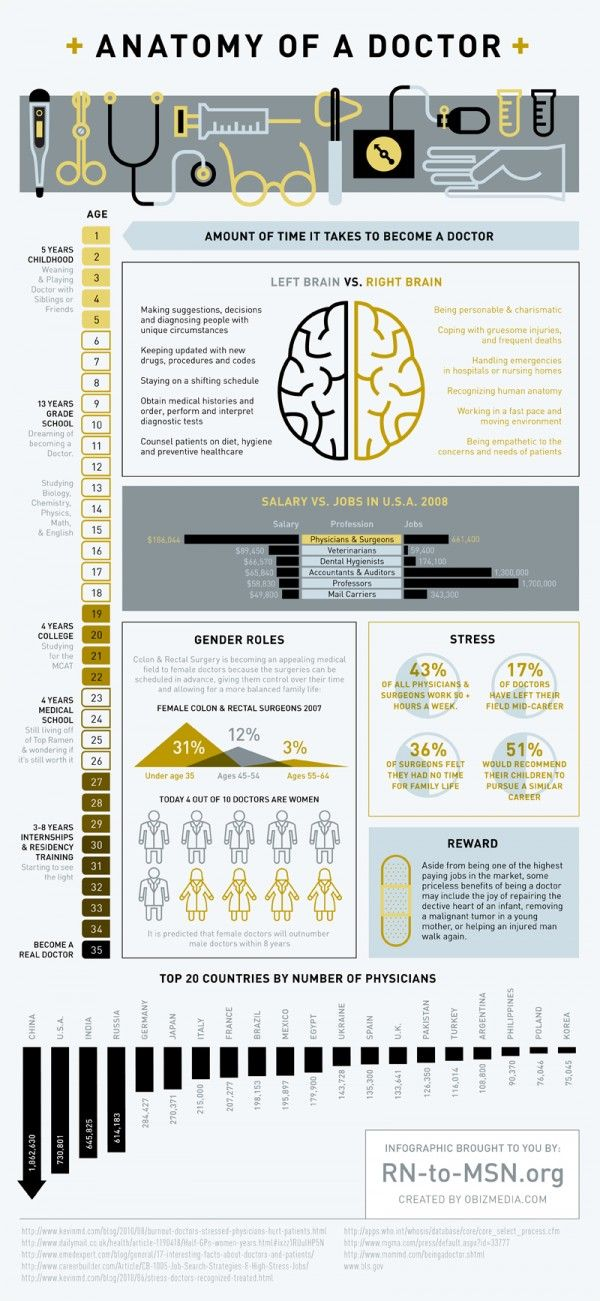 Anatomy of a Doctor #Infographic | Careers in Health | Pinterest ...
