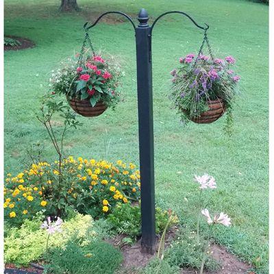 Hooks And Brackets Double Hanging Basket Column Garden Hooks Backyard Fence Decor Hanging Baskets