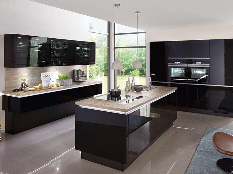 k che schwarz hochglanz m bel mit k chen in 2019 k che k che schwarz und. Black Bedroom Furniture Sets. Home Design Ideas